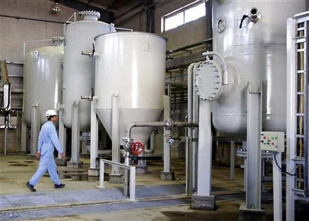 An interior view of the Arak heavy water production facility in central Iran in a file photo. REUTERS/Fars News