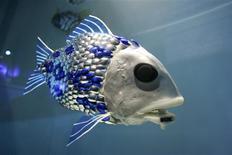 <p>Un pez robótico en un estanque del Acuario de Londres, 6 oct 2005. Un pez robot desarrollado por científicos británicos va a ser soltado en aguas de Asturias, en el norte de España, para detectar la contaminación. REUTERS/Jonas Borg/UPPA</p>