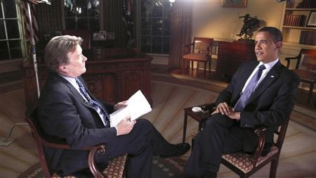 CBS correspondent Steve Kroft (L) interviews President Barack Obama in the White House March 20, 2009 for the March 22 airing of 60 Minutes. REUTERS/Aaron Tomlinson-CBS News/60 Minutes/Handout
