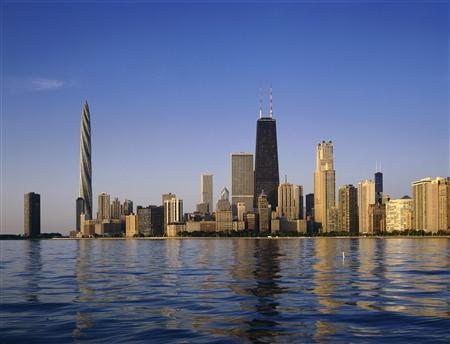An undated handout rendering shows the Chicago Spire (2nd L). REUTERS/Courtesy of Shelbourne Deveopment/Handout