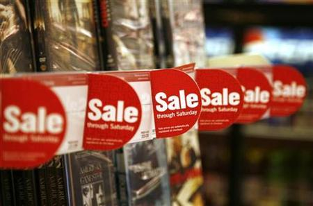Sale signs are seen at a Target store in Colorado, February 24, 2009. REUTERS/Rick Wilking