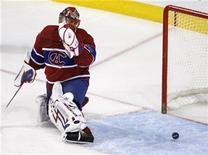 <p>Montreal Canadiens goalie Jaroslav Halak reacts to a Toronto Maple Leafs goal during the third period of NHL hockey action in Montreal, March 21, 2009. REUTERS/Shaun Best</p>