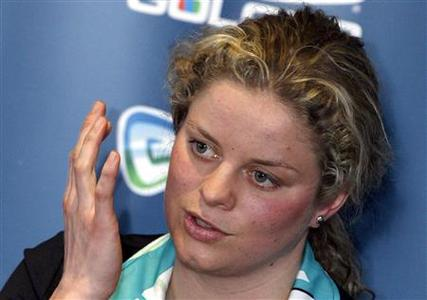 Belgium's retired tennis champion Kim Clijsters gives a news conference in Bree March 26, 2009. The 25-year-old former world number one said on Thursday she will return to the WTA Tour. REUTERS/Sebastien Pirlet