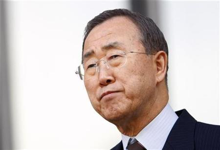 U.N. Secretary General Ban Ki-moon listens during a ceremony commemorating the International Day of Remembrance of the Victims of Slavery and the Transatlantic Slave Trade, at the United Nations headquarters, in New York March 25, 2009. REUTERS/Chip East