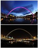 <p>A combination picture shows a view of the Millenium bridge over the Tyne river before (top) and during Earth Hour in Newcastle, northern England March 28, 2009. More than 80 countries have signed up for Earth Hour on Saturday in which homes, office towers and landmarks will turn off their lights from 8.30 pm local time to raise awareness about climate change and the threat from rising greenhouse gas emissions. REUTERS/Nigel Roddis</p>