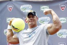 <p>Wrestler John Cena poses for photographers during 'Arthur Ashe Kid's Day' at the U.S. Open in Flushing, New York August 25, 2007. REUTERS/Keith Bedford</p>