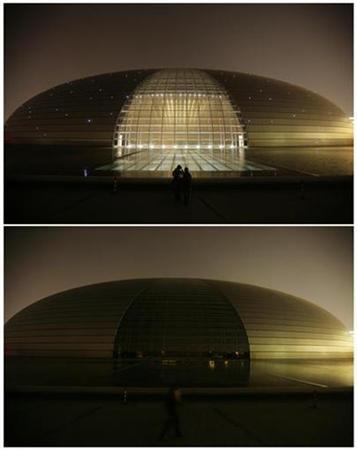 A combination picture shows a view of Beijing's National Grand Theater before (top) and during Earth Hour March 28, 2009. REUTERS/Jason Lee