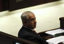 <p>Israel's prime minister-designate Benjamin Netanyahu attends a special session of the Knesset, the Israeli parliament, marking the 30th anniversary of the Israel-Egypt peace treaty, in Jerusalem March 30, 2009. REUTERS/Ronen Zvulun</p>