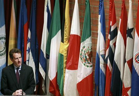 Treasury Secretary Timothy Geithner speaks during the inaugural ceremony of the 50th Inter-American Development Bank's general assembly in Medellin, March 29, 2009. REUTERS/Jose Miguel Gomez