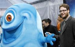 """<p>Seth Rogen, ator que dublou, na versão em inglês, o personagem B.O.B. do filme """"Monstros vs. Alienígenas"""", na Califórnia. 27/03/2009. REUTERS/Mario Anzuoni</p>"""
