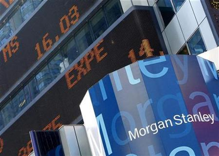 The trading price of $16.03 for Morgan Stanley (MS) rolls across the stock ticker on the Morgan Stanley headquarters building in New York's Time's Square September 18, 2008. REUTERS/Brendan McDermid