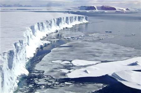 A view of the leading edge of the remaining part of the Larsen B ice shelf that extends into the northwest part of the Weddell Sea is seen in this handout photo taken on March 4, 2008. REUTERS/Mariano Caravaca/Handout