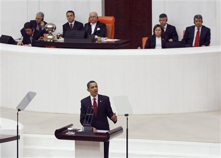 U.S. President Barack Obama addresses Turkey's Parliament in Ankara, Turkey, April 6, 2009. Obama's visit on the last leg of an eight-day trip that marks his debut as president on the world stage, is a recognition of the secular but predominantly Muslim country's growing clout and Washington's desire for its help to solve confrontations and conflicts from Iran to Afghanistan. REUTERS/Jason Reed