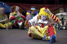 <p>Clown hopefuls gather to audition with the Ringling Bros. and Barnum & Bailey's Clown College in Madison Square Garden, New York April 7, 2009. REUTERS/Feld Entertainment/Handout</p>