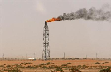 A gas flame is seen in the desert near the Khurais oilfield, about 160 km (99 miles) from Riyadh, June 23, 2008. REUTERS/Ali Jarekji