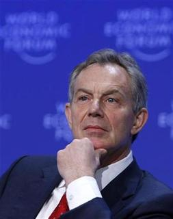 Tony Blair, Head of the Middle-East Quartet and Member of the Foundation Board of the World Economic Forum attends a session at the World Economic Forum (WEF) in Davos January 29, 2009. REUTERS/Pascal Lauener