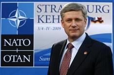 <p>Canadia's Prime Minister Stephen Harper arrives for a Cultural Event during the NATO summit at the Kurhaus in Baden-Baden April 3, 2009. REUTERS/Fabrizio Bensch</p>