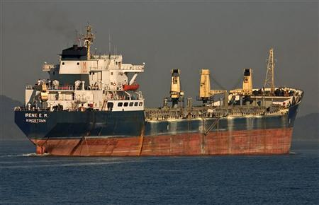 Greek-owned MV Irene E.M carrier is seen in an undated photo. REUTERS/Roberto Smera/Handout