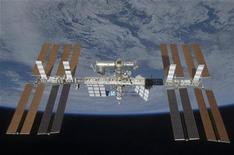 <p>The International Space Station is seen with its full complement of solar arrays from the Space Shuttle Discovery during the STS-119 mission against the backdrop of the blackness of space and the Earth's horizon, in this image released by NASA March 28, 2009. REUTERS/NASA</p>