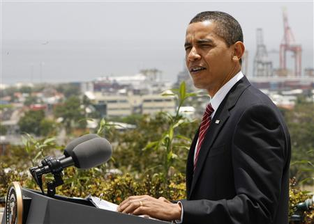 U. S. President Barack Obama gives a news conference after the closing of the 5th Summit of the Americas in Port of Spain April 19, 2009. REUTERS/Jim Bourg