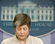 <p>Secretary of Homeland Security Janet Napolitano in the press briefing room at the White House, March 24, 2009. REUTERS/Larry Downing</p>