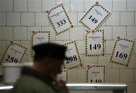 A man looks at price tags in government-backed social SOS discount supermarket in Belgrade, March 31, 2009. REUTERS/Marko Djurica