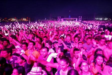 Fans cheer during the performance of Thievery Corporation at the Coachella Music Festival in Indio, California April 18, 2009. REUTERS/Mario Anzuoni