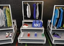 <p>Products are seen on display inside the temporary Nike store in Shoreditch, East London April 30, 2009. REUTERS/Stephen Hird</p>