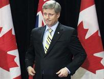 <p>Prime Minister Stephen Harper speaks at a news conference in Toronto, April 30, 2009. REUTERS/Mark Blinch</p>