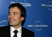"<p>Newly named ""Late Night"" host Jimmy Fallon arrives at the NBC Universal Upfront in New York on May 12, 2008. REUTERS/Shannon Stapleton</p>"