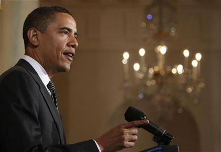 U.S. President Barack Obama speaks about the Chrysler Chapter 11 filing and its partnership with Fiat from the White House in Washington April 30, 2009. REUTERS/Jim Young