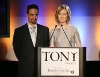 <p>Actors Lin-Manuel Miranda (L) and Cynthia Nixon announce the nominees for the American Theatre Wing's 63rd Annual Tony Awards in New York, May 5, 2009. The Tony Awards will be presented at Radio City Music Hall June 7, 2009. REUTERS/Brendan McDermid</p>
