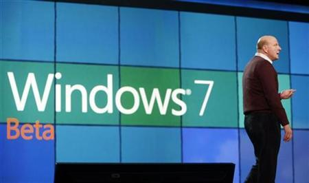 Steve Ballmer, Microsoft Corp CEO announces the release of the Windows 7 operating system as he delivers the pre-show keynote address at the annual Consumer Electronics Show (CES) in Las Vegas, Nevada January 7, 2009.