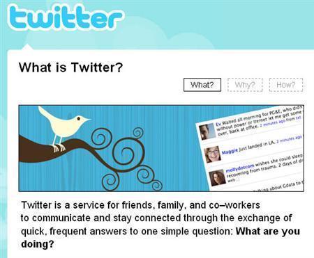 Twitter.com is seen in a screengrab taken April 3, 2009. REUTERS/Twitter.com