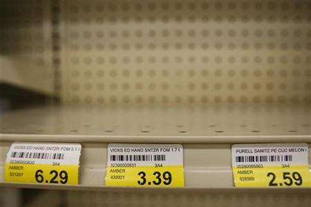 A shelf where hand sanitizers were on display remains empty as Doughery's Pharmacy waits for a new shipment to arrive in Dallas, May 1, 2009. REUTERS/Jessica Rinaldi
