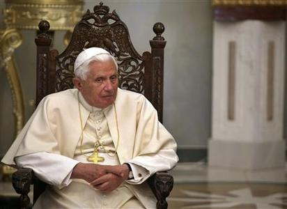 Pope Benedict XVI attends a meeting with Greek Orthodox Patriarch of Jerusalem Metropolitan Theophilos at the Greek Orthodox Patriarchate in Jerusalem's Old City May 15,2009. REUTERS/Daniel Bar-On/Pool