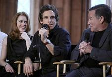 "<p>Actors (L-R) Amy Adams, Ben Stiller and Robin Williams answer reporters' questions in the Smithsonian Castle at a news conference to discuss their new movie, ""A Night at the Museum: Battle of the Smithsonian"" in Washington, May 15, 2009. REUTERS/Robert Giroux</p>"
