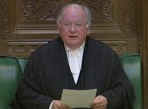 "<p>Britain's Speaker of the House of Commons, Michael Martin, addresses the House to announce that he will step down, in central London May 19, 2009. The Speaker of Britain's lower house said on Tuesday he would step down in June after criticism of his handling of a scandal over lawmakers' expenses that has badly tarnished the reputation of the ""Mother of Parliaments"". REUTERS/Parbul TV via Reuters TV</p>"
