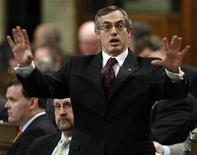 <p>Canada's Minister of Industry Tony Clement speaks during Question Period in the House of Commons on Parliament Hill in Ottawa April 20, 2009. REUTERS/Blair Gable</p>