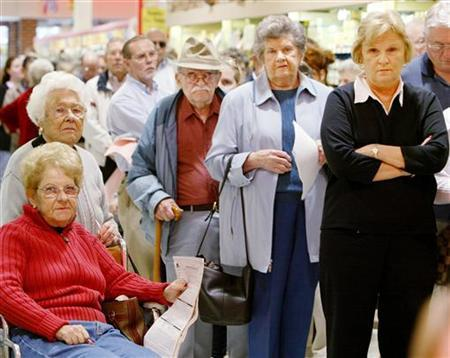 A line at a Virginia grocery store in a file photo. REUTERS/Larry Downing