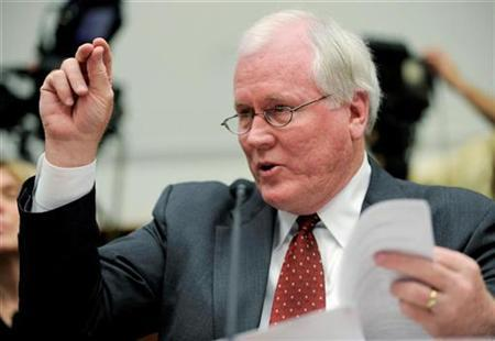 Edward Liddy gestures as he testifies before the House Financial Services Subcommittee on Capital Markets, Insurance, and Government Sponsored Enterprises on Capitol Hill in Washington March 18, 2009. REUTERS/Mike Theiler