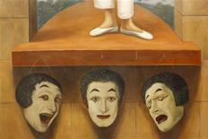 <p>A section of an artwork showing different expressions of late French mime artist Marcel Marceau is displayed on the eve of an auction in Paris May 25, 2009. REUTERS/John Schults</p>