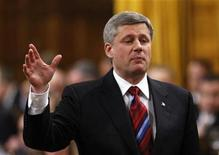 <p>Canada's Prime Minister Stephen Harper speaks during Question Period in the House of Commons on Parliament Hill in Ottawa May 26, 2009. REUTERS/Chris Wattie</p>