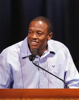 Rap artist Dr. Dre speaks during the 2006 Los Angeles Chapter of the Recording Academy's annual ceremony to honor extraordinary artists in Los Angeles, California June 8, 2006. REUTERS/Lucas Jackson