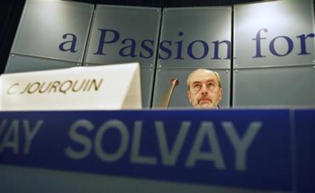 Belgium's Christian Jourquin, chief executive officer of Belgian drug and chemicals maker Solvay, presents the annual results of the company in Brussels February 19, 2009. REUTERS/Thierry Roge