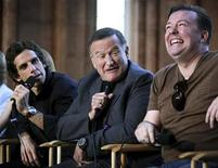 "<p>Actors (L-R) Ben Stiller, Robin Williams and Ricky Gervais answer reporters' questions in the Smithsonian Castle during a news conference to discuss their new movie, ""A Night at the Museum: Battle of the Smithsonian"" in Washington, May 15, 2009. REUTERS/Robert Giroux</p>"