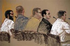 <p>In this photo of a sketch by courtroom artist Janet Hamlin, reviewed by the U.S. military, Canadian defendant Omar Khadr (L) sits with his defence team during a hearing inside the courthouse for the U.S. war crimes commission, at the Camp Justice compound, at Guantanamo Bay U.S. Naval Base, Cuba, Monday, June 1, 2009. REUTERS/Janet Hamlin/Pool</p>