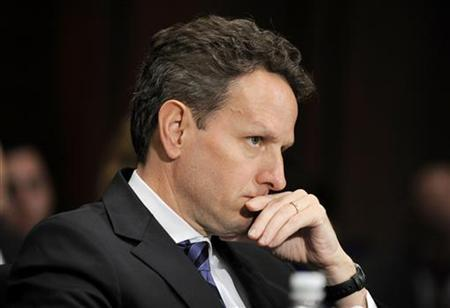 U.S. Treasury Secretary Timothy Geithner listens to opening statements at a Senate Banking, Housing and Urban Affairs Committee hearing on ''Oversight of the Troubled Asset Relief Program'' on Capitol Hill in Washington, May 20, 2009. REUTERS/Mike Theiler