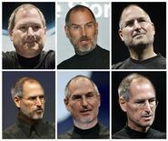 <p>L'AD di Apple, Steve Jobs, in una combinazione di foto dalla più datata (in alto a sinistra) che risale al luglio 2000 alla più recente del settembre 2008. REUTERS/Files</p>