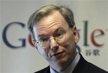 Google Chief Executive Eric Schmidt attends a news conference in Beijing in this March 17, 2008 file photo. REUTERS/Grace Liang